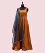 Yellow Salwar Kameez in Soft Silk Print 1