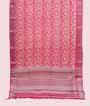 Rani Pink Linen Cotton Saree With Floral Print 1