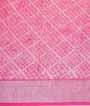 Rani Pink Linen Cotton Saree With Floral Print 3