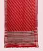 Rust Linen Cotton Saree With Floral Print 1