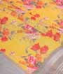 Yellow Linen Cotton Saree With Floral Print 2