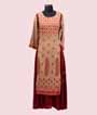 Two Layered Beige and Maroon Kurti With Print 1