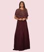 Cape Style Maroon Gown Georgette Cutdana Work Sequins Work 1