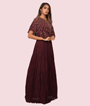Cape Style Maroon Gown Georgette Cutdana Work Sequins Work 2
