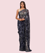Navy Blue Pure Georgette Saree Cut Work Border And Floral Print 1