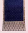 Navy Blue Soft Tussar Saree With Embroidery Work 1
