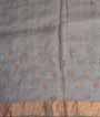 Grey Tussar Silk Saree Thread Work 3