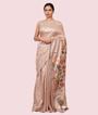 Beige Tussar Silk Saree Ghicha Work 1