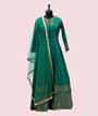 Green Salwar Kameez in Banarasi Silk 1