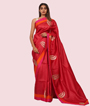 Tomato Red Tussar Silk Saree Applice Work 1