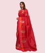 Tomato Red Tussar Silk Saree Applice Work 2