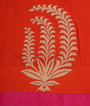 Tomato Red Tussar Silk Saree Applice Work 3