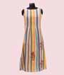 Beige And Multicolour Linen Cotton Kurti  1