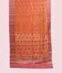 Light Orange Linen Saree With Banarasi Zari 1