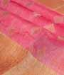 Pink Linen Saree With Banarasi Zari 2