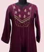 Wine Kurti In Soft Silk With Handwork 2