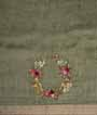 Olive Green Linen Saree With Embroidery 3