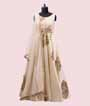 Cream Salwar Kameez in Silk With Applic Leather Work 1