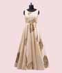 Cream Salwar Kameez in Silk With Applic Leather Work 2