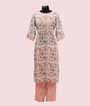 Peach and Off White Linen Kurti Set 1