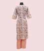 Peach and Off White Linen Kurti Set 3