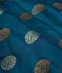 Rama Blue Muga Silk Saree With Gold Zari 2