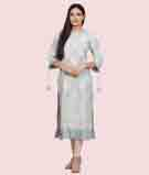 Ice Blue Linen Kurti With Embroidery 1