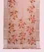 Peach Organza Saree Floral Print 1