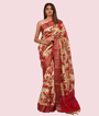 Cream Chanderi Cotton Saree With Floral Print 1