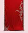 Red Satin Saree With Silver Cut Work And Swarovski 1
