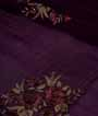 Wine Crepe Saree With Parsi Embroidery And Cutdana 2