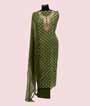 Mehandi Green Unstitched Chanderi Salwar Kameez 1