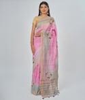 Onion Pink Linen Saree Thread Work 1