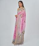 Onion Pink Linen Saree Thread Work 2