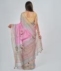 Onion Pink Linen Saree Thread Work 3