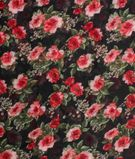 Black Color Floral Print on Poly Georgette Dress Material Fabric 1