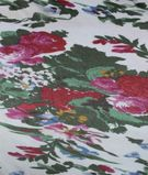 White Multicolour Flowers Printed Poly Georgette Fabric 2